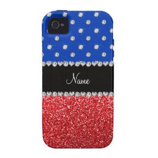 Personalized name blue diamonds red glitter Case-Mate iPhone 4 case
