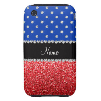 Personalized name blue diamonds red glitter iPhone 3 tough cover