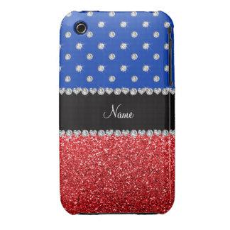 Personalized name blue diamonds red glitter Case-Mate iPhone 3 case