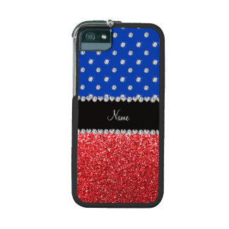 Personalized name blue diamonds red glitter cover for iPhone 5/5S