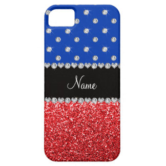 Personalized name blue diamonds red glitter iPhone 5 cover