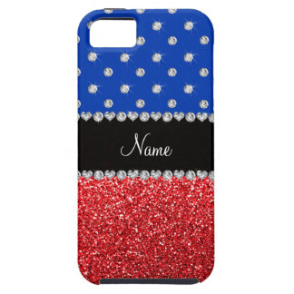 Personalized name blue diamonds red glitter iPhone 5 cases