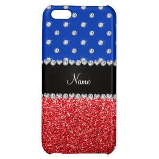 Personalized name blue diamonds red glitter iPhone 5C covers