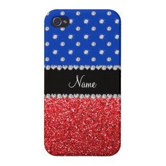 Personalized name blue diamonds red glitter case for iPhone 4