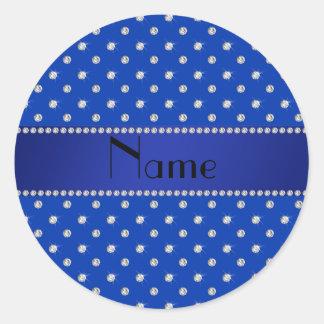 Personalized name blue diamonds stripe classic round sticker