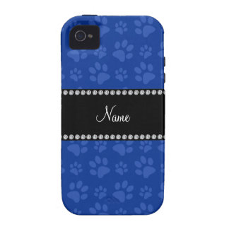 Personalized name blue dog paw print Case-Mate iPhone 4 cover