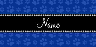 Personalized Name Blue Dog Paw Print Desk Business Card Holder