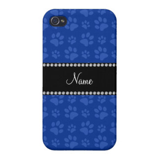 Personalized name blue dog paw print iPhone 4 cases