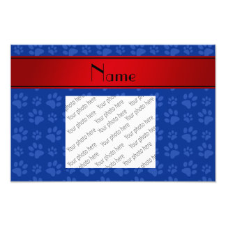 Personalized name blue dog paws red stripe photo