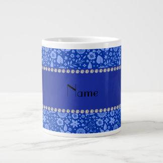 Personalized name blue flowers leaves giant coffee mug