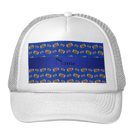 Personalized name blue footballs trucker hat