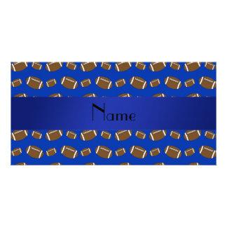 Personalized name blue footballs customized photo card