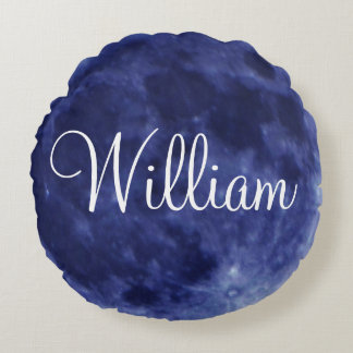Personalized Name Blue Full Moon solid plain color Round Pillow