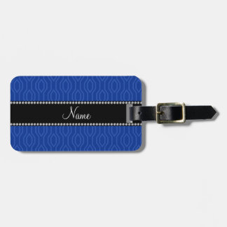 Personalized name blue geometric diamonds pattern tag for luggage
