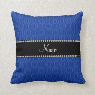 Personalized name blue geometric diamonds pattern pillow