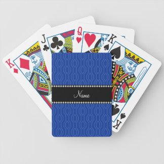 Personalized name blue geometric diamonds pattern bicycle poker deck