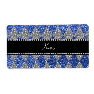 Personalized name blue glitter argyle shipping label