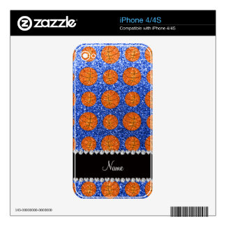 Personalized name blue glitter basketballs iPhone 4 decal