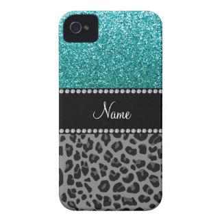 Personalized name blue glitter black leopard iPhone 4 Case-Mate case
