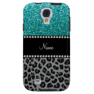 Personalized name blue glitter black leopard galaxy s4 case