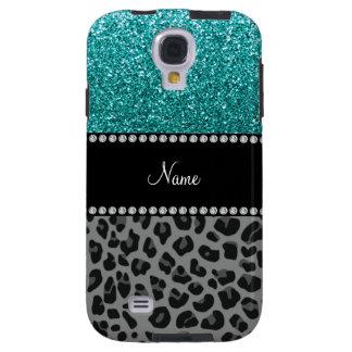 Personalized name blue glitter black leopard galaxy s4 case