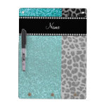 Personalized name blue glitter black leopard dry erase board