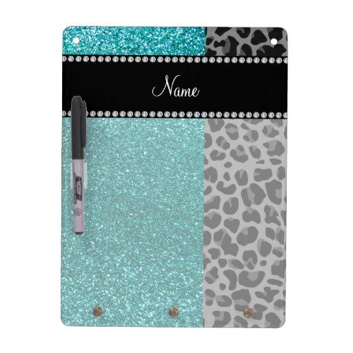 Personalized name blue glitter black leopard dry erase board