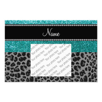 Personalized name blue glitter black leopard photo art