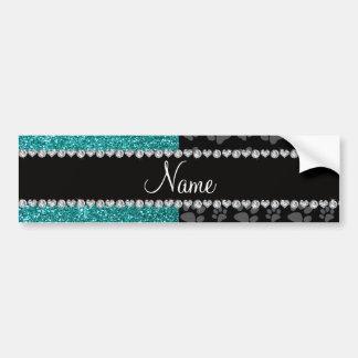 Personalized name blue glitter black paws bumper sticker