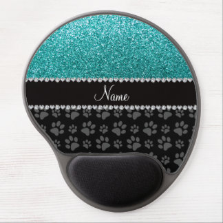 Personalized name blue glitter black paws gel mouse pad