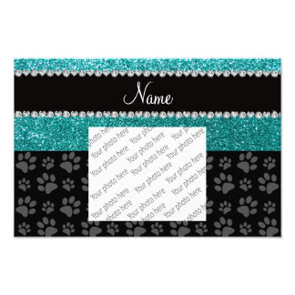 Personalized name blue glitter black paws art photo
