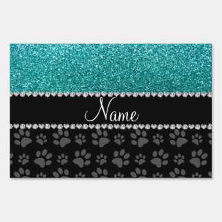 Personalized name blue glitter black paws yard sign