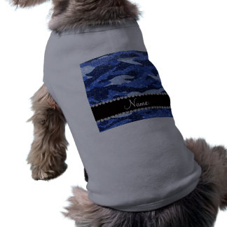 Personalized name blue glitter camouflage pet tshirt