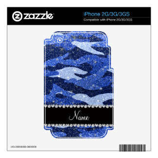 Personalized name blue glitter camouflage iPhone 3G skins