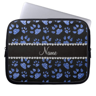 Personalized name blue glitter cat paws computer sleeve