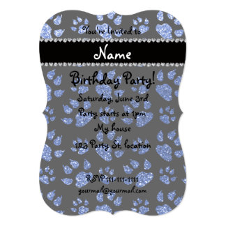 Personalized name blue glitter cat paws 5x7 paper invitation card