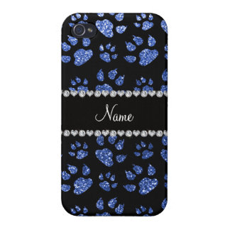 Personalized name blue glitter cat paws iPhone 4 case