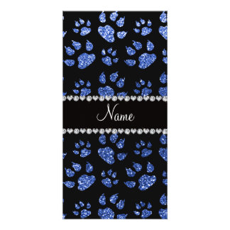 Personalized name blue glitter cat paws personalized photo card