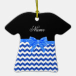 Personalized name blue glitter chevrons bow christmas tree ornaments