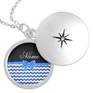 Personalized name blue glitter chevrons bow round locket necklace