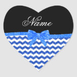 Personalized name blue glitter chevrons bow stickers