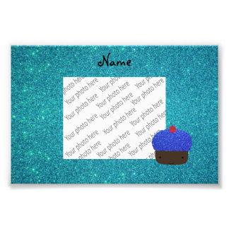 Personalized name blue glitter cupcake photographic print