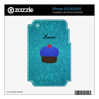 Personalized name blue glitter cupcake decal for iPhone 3