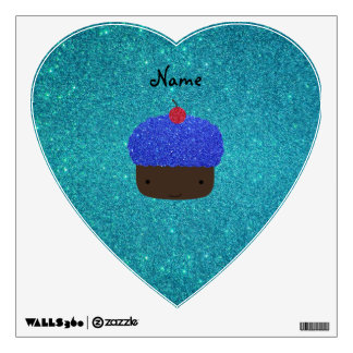 Personalized name blue glitter cupcake room decal