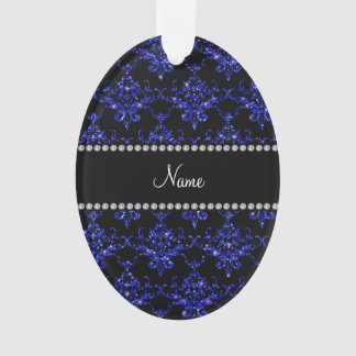 Personalized name blue glitter damask