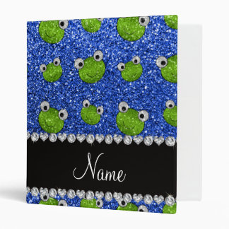 Personalized name blue glitter frogs 3 ring binder