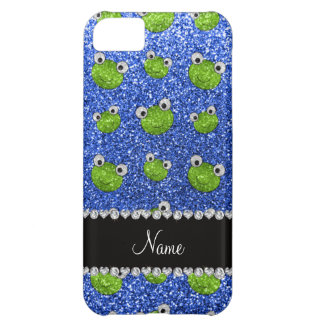 Personalized name blue glitter frogs iPhone 5C case