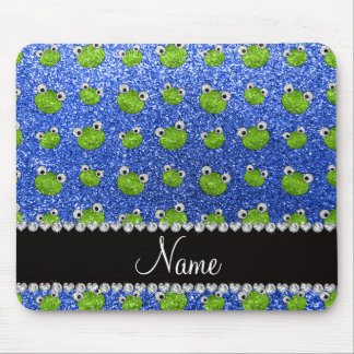 Personalized name blue glitter frogs mouse pad