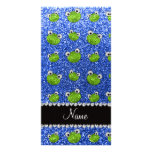 Personalized name blue glitter frogs personalized photo card