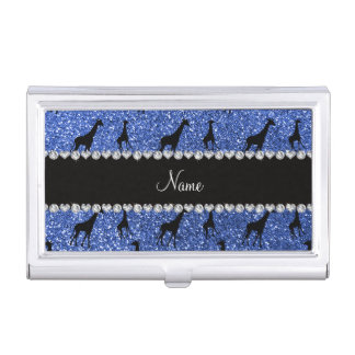 Personalized name blue glitter giraffes business card holder
